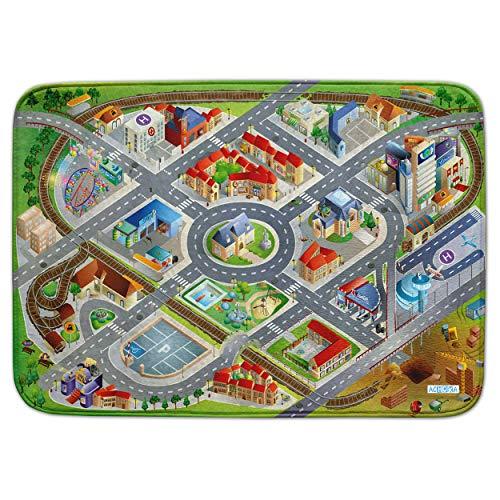 Pink Papaya Spiel-Teppich für Kinder, Ultra-weiche Straßen-Matte, 100 x 150 cm Straßenteppich City, mit Straßen-Verkehr, Schienen und Flughafen, für Jungen und Mädchen