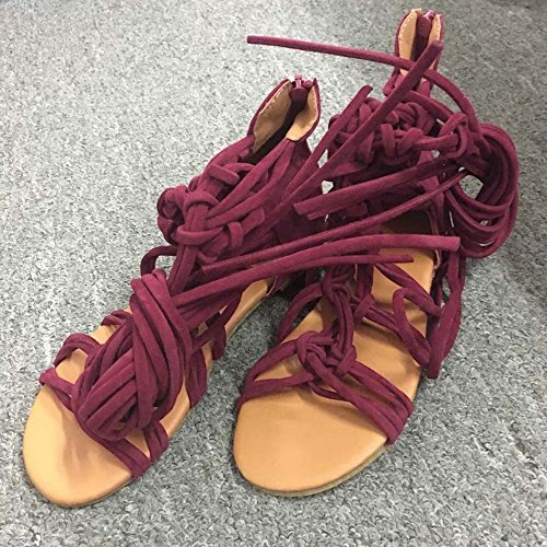 Longra Donna cinghie incrociate con sandali piatti a Roma Rosso