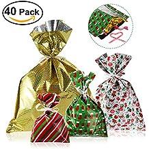 Nicexmas, confezione da 40 sacchetti regalo di Natale in 4 motivi e 4 dimensioni, con nastri elastici