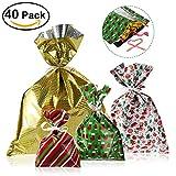 NICEXMAS 40 Pack wiederverwendbar Christmas Gift Bags, Weihnachten Geschenkbeutel/taschen in 4 Größen und 4 Designs, mit Bänder