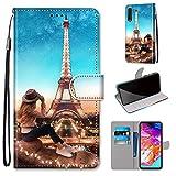 Miagon Flip PU Leder Schutzhülle für Samsung Galaxy A50,Bunt Muster Hülle Brieftasche Case Cover Ständer mit Kartenfächer Trageschlaufe,Turm Mädchen