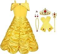 Vicloon Prinzessin Kostüm Mädchen, Eiskönigin ELSA Kleid Blau/Gelb mit Diademe, Zauberstab, Handschuhe und anderes Zubehör, f