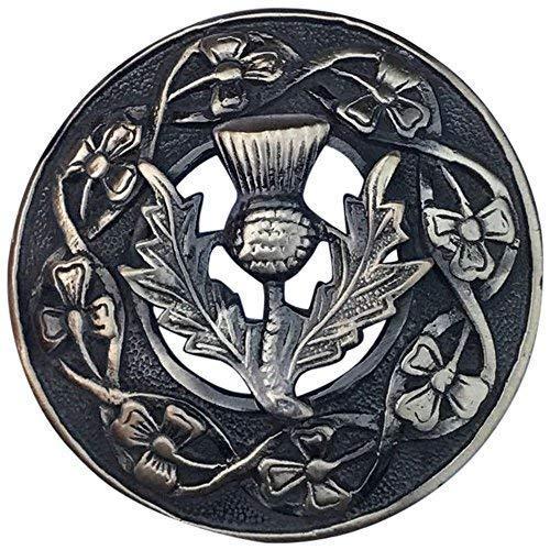 """Herren Schottisch Kilt Fly Plaid Brosche Distel Wappen Verschiedene Ausführung 3\""""/ Keltisch Anstecknadel & Broschen Hochland - Antik Veredlung"""