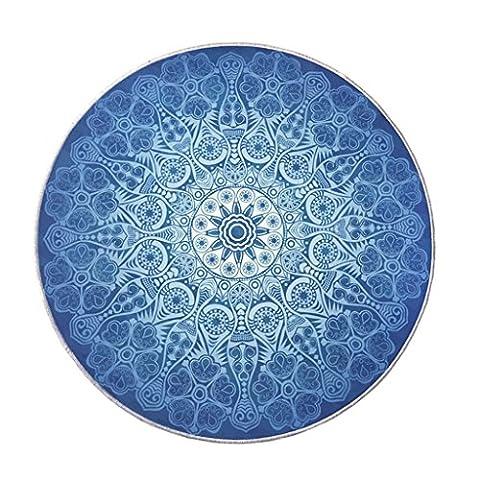 ZXLDP Bereich Teppiche Europäischer Stil Wohnzimmer Schlafzimmer Runder Teppich Blau Waschbarer Drehstuhl Rutschfester Teppich Größe Optional Wohnzimmerteppiche ( größe : 80*80cm