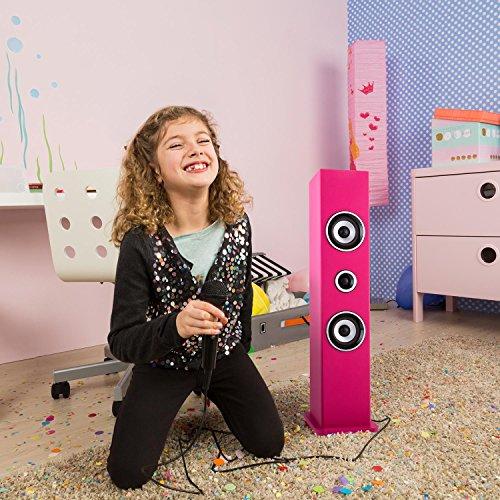 auna Karaboom • Kinder Karaoke Anlage • Karaoke Player • Karaoke Set • Turmlautsprecher • zwei Breitbandlautsprecher • Bassreflex • Bluetooth • 2 x dynamisches Mikrofon • separat regelbar • USB-Port • MP3-fähig • AUX-IN • Mikrofonhalterung • pink - 2