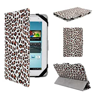 """Housse etui universel pour tablette PC 7"""" style leopard simi cuir modele ex. ASUS GOOGLE Nexus 7, 2.2 EASY TAB, MID, Apad, Epad, 7 inch Amazon kindle fire, NEW e reader book, Blackberry playerbook, Huawei Mediapad T-Mobile SpringBoard 7"""", 7"""" Kobo VOX, Nook Color SAMSUNG GALAXY TAB 2 7.0 P3100 P3110/P6200/P1000"""