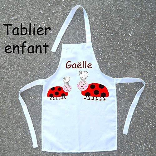 Tablier de cuisine enfant Coccinelle à personnaliser avec un Prénom (ex. Gaëlle)