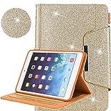 Neu iPad 9.7 2018 2017 / iPad Air 2 / iPad Air / iPad Pro 9.7 Hülle, Business Glitzer Premium Leder Ständer Clever Schutzhülle [Auto Schlaf/Wach] für Apple iPad 9.7 2018 2017/Air 2/Air/Pro 9.7 2016,Gold