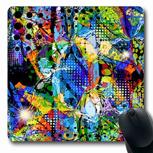 Luancrop Mousepads für Computer Art Digital Stain Glasmalerei Batik Abstrakte Farbe Modern Liquid Blank Design Graphic rutschfeste Oblong Gaming Mouse Pad - Moderne Glasmalerei