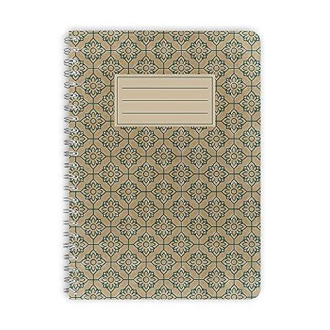 purepaper Notizblock | Notizbuch | Spiralblock | Bullet Journal | 1005 FLOWER MOSAIC, DIN A5 60 Blatt gepunktet / dot grid / Punktraster, 100g