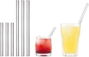 HALM Pajitas de cristal reutilizables ecológicas - 6 piezas, 2 tamaños - Pajitas + cepillo de limpieza ecológico - apto...