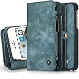 INFLATION iPhone/Samsung Leder Handytasche Case Hülle Geldbörse mit Kartenfach abnehmbar Magnet Handy Schutzhülle für iPhone 6 Plus/iPhone 6S Plus in Blau