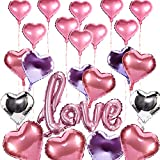 Konsait Luftballons Hochzeit BUNT, love-Schriftzug Luftballon und Rosa Serie Herz Folie Ballons Hochzeit Luftballons für Valentinstag Brautdusche Hochzeit Party Dekorationen (23 Stück)
