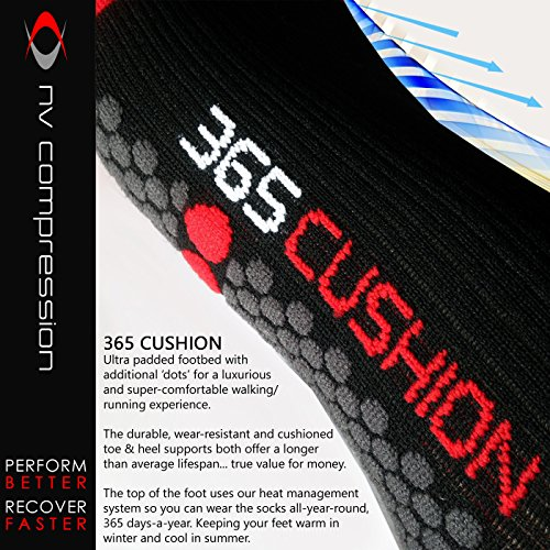 NV-Compression-365-Cushion-Socks-PAIR-20-30mmHg-For-Plantar-Fasciitis-Sports-Recovery-Shin-Splints-Medical-Work-Flight-Running-Cycling-Soccer-Rugby-Fitness-Gym-Golf-Tennis-Triathlon-Crossfit-Socks-Tig