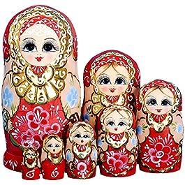 YAKELUS Marchio di Matrioska specializzato, nesting dolls Matrioske Bambola Matrioska russa in 7 pezzi tiglio di zona frigida regalo e giocattolo 7022