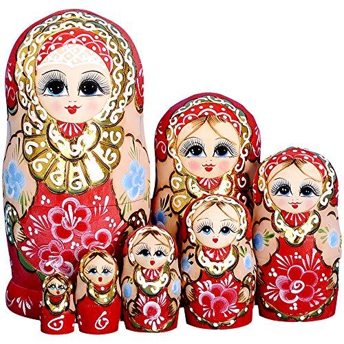 YAKELUS marca profesional de Matrioska, Muñecas Rusas Matrioska 7 piece Madera Matrioska de Rusia de 7 capas, hecha a mano y por el tilo, es un juguete y un regalo7022