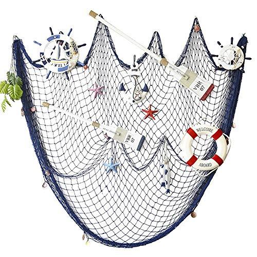 AOFOX Dekoratives Fischernetz Dekor, Mittelmeer Pirat Strand Thema Partydekorationen (Blau, 2M x 4M)