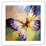 JH Lacrocon Peintures Insecte à Main - 50X50 cm Tableau sur Toile Roulée Décoration Murale pour Salon - Papillon Violet 1