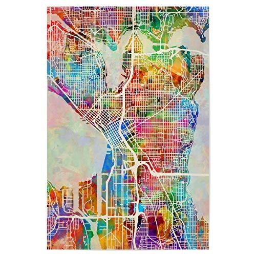 artboxONE Poster 90x60 cm Städte Seattle Washington Street Map - Bild Street map City map Road map