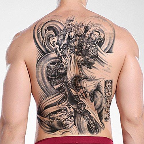 TAFLY Wasserdichte temporäre Tätowierung Aufkleber Chinesische alte Held Männer die ganze Rückseite Große Wasser Transfer Fake Tattoo 2 Blätter (Temporäre Tattoos Für Männer Chinesische)