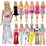 Miunana 5x Vestidos de noche Casual Ropas con Camiseta y Pantalones Estilo Aleatorio como Regalo para Muñeca Barbie Doll - CE Certificado