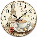 Telisha Retro Design Große Uhr Paris Französisch Eiffelturm Kaffeetasse Home Dekorative Wanduhr Holz 34CM 13.4