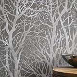 'Metallisch Grove' Baum Tapete grau & Silber Metallics - Grau/Silber, Komplette Rolle