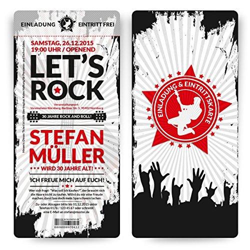 ck) Rock and Roll Eintrittskarten Tickets Einladungskarten mit Abriss ()