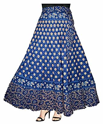 ESHOPITUDE 100% COTTON WOMEN'S JAIPURI SKIRT-(WRAP AROUND MULTI COLOR @ FREE SIZE)