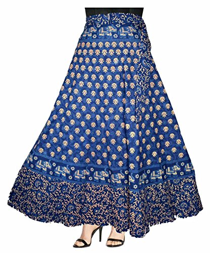 ESHOPITUDE 100% COTTON WOMEN\'S JAIPURI SKIRT-(WRAP AROUND MULTI COLOR @ FREE SIZE)