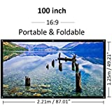 "100 Inch Projector Screen 100"" Portable Foldable Indoor Outdoor Projection Screen Movie Screen 16:9 HD Home Theater Movie Screen"