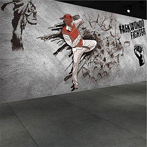JIAJU Wallpaper Kreative Persönlichkeit Graffiti 3D Anpassbare Wandbild Dekoration Yoga Raum/Gym/Boxing Hall/Taekwondo, B