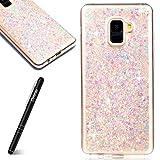 Slynmax Coque Samsung Galaxy A8 2018 Etui Luxe Mode Cool Mince Étui en Silicone Souple Paillette Strass Brillante Bling Glitter TPU Résistant à la Goutte Bumper Housse Etui de Protection Violet