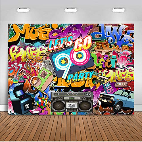 Thema Party Kulisse 7x5ft Hip Hop Graffiti Wand Photo Booth Kulissen Let's Go 90er Jahre Party Dekoration Fotografie Hintergrund ()