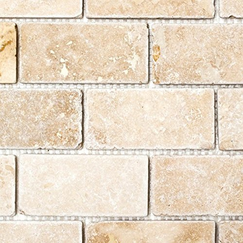 Mosaik Fliese Travertin Naturstein beige Brick Inula Chiaro Antique Travertin für BODEN WAND BAD WC DUSCHE KÜCHE FLIESENSPIEGEL THEKENVERKLEIDUNG BADEWANNENVERKLEIDUNG Mosaikmatte Mosaikplatte