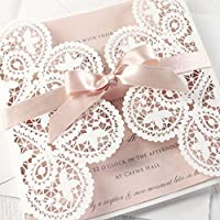 PARTECIPAZIONE matrimonio fai da te KIT anniversario fidanzamento baby shower compleanni DIY bianco e rosa taglio laser CONFEZIONE di 50 pezzi