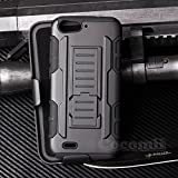 ZTE Blade V6 / D6 / X7 Coque, Cocomii Robot Armor NEW [Heavy Duty] Premium Belt Clip Holster Kickstand Shockproof Hard Bumper Shell [Military Defender] Full Body Dual Layer Rugged Cover Case Étui Housse (Black)