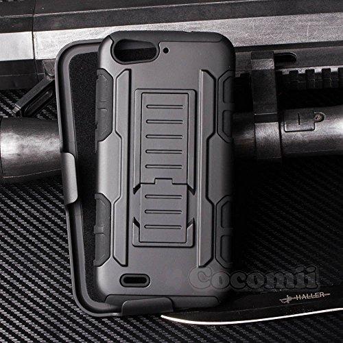 Cocomii Robot Armor ZTE Blade V6/D6/X7 Hülle [Strapazierfähig] Gürtelclip Ständer Stoßfest Gehäuse [Militärisch Verteidiger] Ganzkörper Case Schutzhülle for ZTE Blade V6 (R.Black)