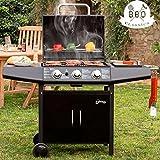 Barbecue a Gas Professionale sistema Pietra Lavica BBQ 3 Fuochi Acciaio con ruote Termometro Integrato