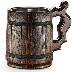 Gran Jarra de Cerveza de Madera - Roble - Confección Artesana - Revestida con Metal