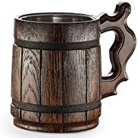 Großer hölzerner Bierkrug – Eiche – Tolle Handwerkskunst, aus hochwertigen Materialien handgemacht – Innen mit Metall – Strapazierfähig – Robust – Langlebig