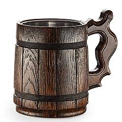 Idea Regalo - Boccale da birra in legno - in quercia - fatto a mano con sorprendente maestria e materiali di qualitŕ - foderato in metallo - Resistente - Robusto - Di Lunga Durata