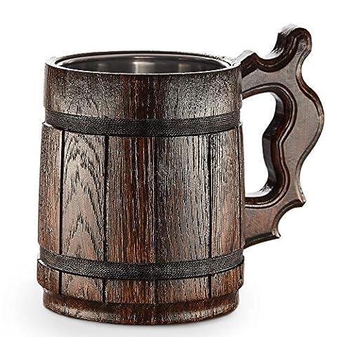 Grande choppe de bičre en bois - Chęne - Faite main de maničre artisanale avec des matériaux de qualité - Doublé avec du métal - Résiste ŕ tout - Robuste - Longue durée