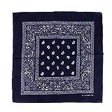Damen und Herren Unisex Bandanas Halstuch Stirnband Tuch Paisley 57x57cm (Dunkelblau)