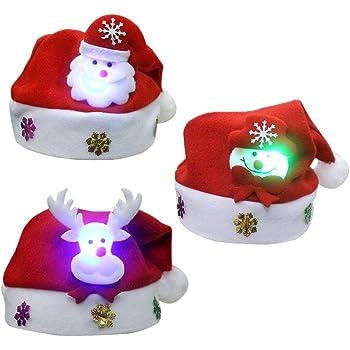 9b6fccf833742 3PCS Unisex Cute Children s Christmas Santa Claus Cap Hat with LED Light  Christmas Decoration for Kids Boys Girls