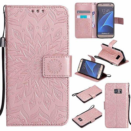 Custodia Galaxy S7, Dfly Premium PU Goffratura Mandala Design Pelle Chiusura Magnetica Protettiva Portafoglio Custodia Super Sottile Flip Cover per Samsung Galaxy S7, Blu Rosa Oro