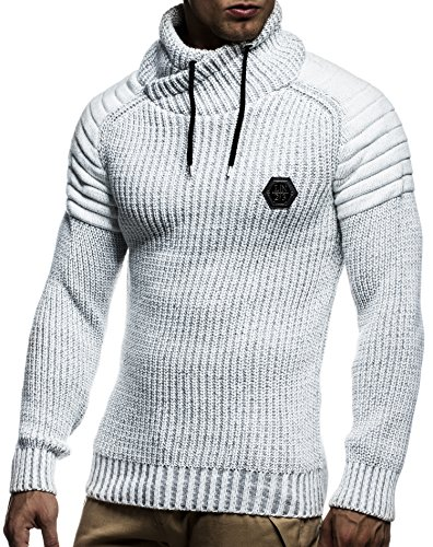 LEIF NELSON Herren Pullover Hoodie Strickpullover Longsleeve Sweatshirt Gesteppt Biker-Style Schalkragen LN5235 Ecru-Grau
