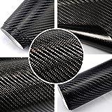 Autofolie 4D Carbon Schwarz 152cm breit BLASENFREI mit Luftkanäle 3D Flex Folie Auto