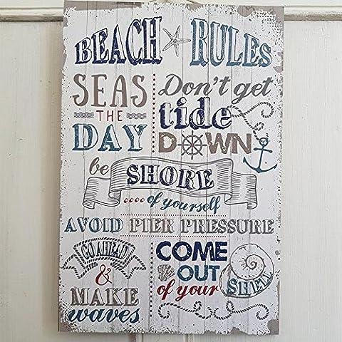 BEACH RULES SEAS THE DAY NAUTICAL CHIC N SHABBY BLUE & WHITE PLAQUE