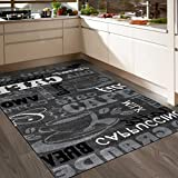 Teppich Modern Sisal Optik Küchenteppich Küchenläufer Coffee Grau Weiss Schwarz Töne spiegelverkehrt 160x220 cm
